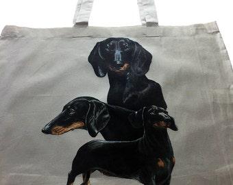 Daschund Dog  100% Cotton Tote Bag For Life