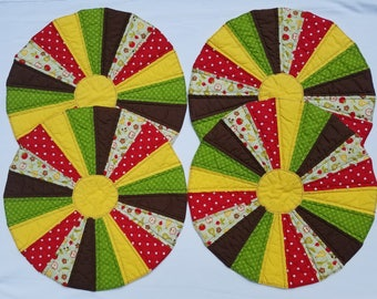 Round Quilted Placemats, Set of Four