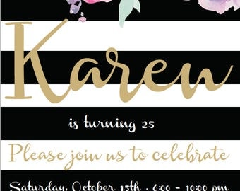 Printable  Party Invitation - Floral  Invitation