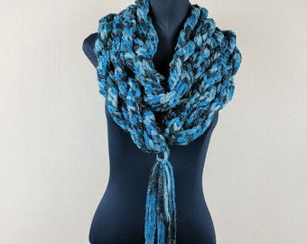 """Hand Woven Maxi-Infinity Rope Scarf with 11"""" Tassel"""