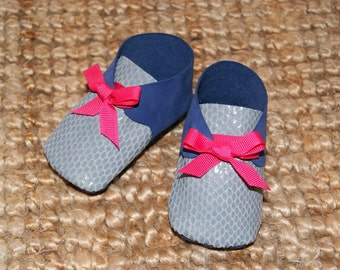 baby slipper two-tone leather