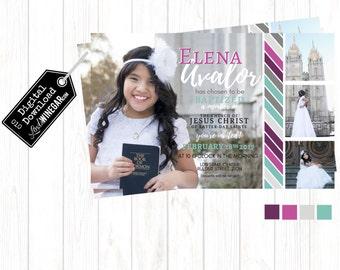 LDS Baptism Invitation, Pink & Purple Girl Baptism Invite | Personalized Digital Download 4x6 or 5x7 JPG