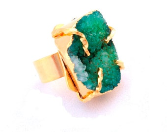 Ring Druzy, ring with gemstone, Druzy quartz, jewel, Druse, gift for her, Adjustable ring, green druzy, blue druzy, graduation