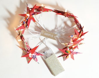 Bright Garland decorated with 10 stars origami - red-patterned Japanese papers