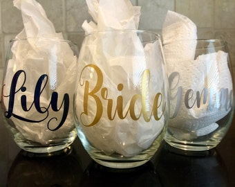 stemless wine glasses /personalized wine glasses / bridal glasses / bridesmaid glass / bridal party / bachelorette party / custom wine glass