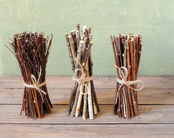 Set of 3 Birch wood bundles, Floral supplies, Birch wand, Natural decor, Rustic home decor, Magic rituals tool, Forest finds, Birch twigs