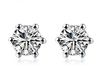 Platinum diamond earrings 1/5 carat total