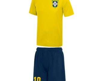 Adults and Kids Brazil Brasil Vintage Football Shirt and Shorts with Personalisation - Yellow / Blue