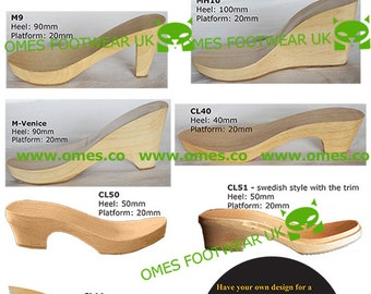 5 Pairs Wooden Soles/Heels/Clogs for Shoe Making