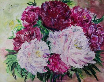Peonies 40x50 cm Acrylic painting on cotton canvas with pallete knife Wall Art Decor Interior Bright colors Shades of pink Blossom flowers