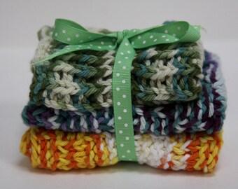 Knit Dish Cloths, Green/Blue/Yellow