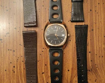 VINTAGE 1980 Bulova Working Gold Quartz Watch with 3 Never Used Vintage Leather Straps