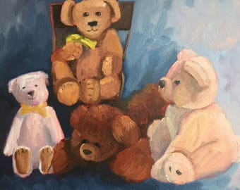 Teddy Bears, Original oil painting, 14x16