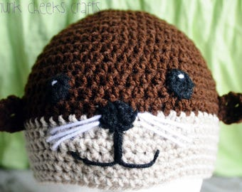 Otter hat, newborn otter hat, baby otter hat, toddler otter hat, crocheted otter hat, newborn photo prop, baby photo prop