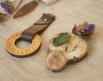 Futhark wood runes circle / Viking runes Wotan Rune German Paganism Leather key chain Norse Odin Wotanism symbol leather keyring
