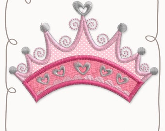 Princess Crown Applique Machine Embroidery Design Pattern-INSTANT DOWNLOAD