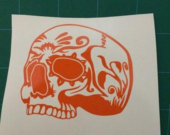Tribal / Sugar / Tibetan  Style Skull Vinyl Decal