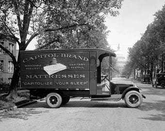 "1910-26 Capitol Mattresses Delivery Truck Vintage Photograph 8.5"" x 11"""