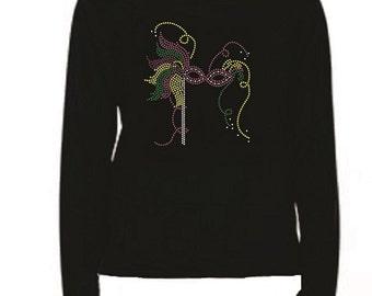 Mardi Gras Mask Rhinestone Ladies T Shirt                                                                         LR LTG6