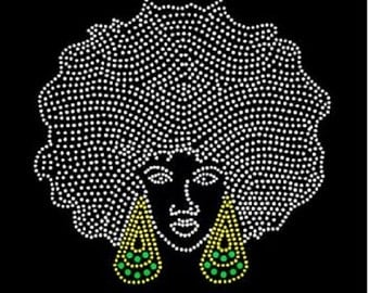 Rhinestone Beautiful Black Afro Girl  Lightweight T-Shirt  OR T Shirt Transfer                                DR6H