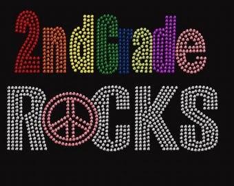 2nd Grade Rocks Peace Rhinestone Iron on Transfer      LN4N