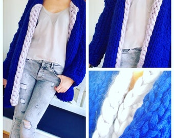 Ladies Cardigan Sweater giant wool big yarn sweater oversize knit jersey Cardie