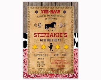 Cowgirl Birthday Invitation, Western Birthday Invitation, Cowgirl Party Invite, Cowgirl Party, Cowgirl Birthday, Bandana Invitation, Country