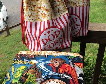 POPCORN HORROR DRAWSTRING bag, project bag knitting bag