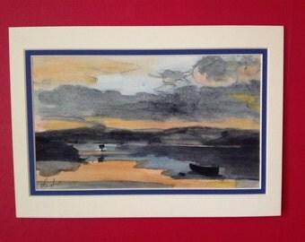 Water colour painting. Devon artist. The Exe Estuary. Original.