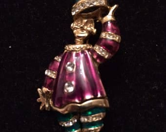 Vintage Gold Tone & Enamel Clown Brooch