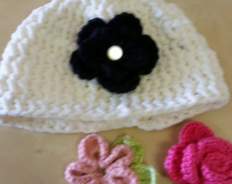 Warm Cream Fluffy Ponytail Hat with 3 Interchangeable Flowers