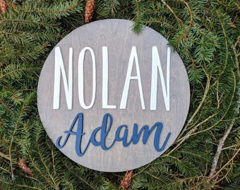"18"" Round Custom Name Wood Sign 
