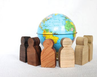 Hand-carved Wooden People (set of 6)