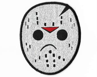 Jason Voorhees Hockey Mask Patch (3.5 Inch) DIY Embroidered Iron or Sew on Badge Applique Horror Movie Souvenir Friday the 13th Costume