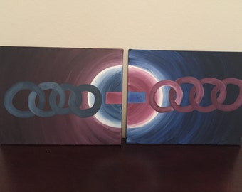 "Crop CIrcles - Two 16x20"" Abstract Acrylic on Canvas"
