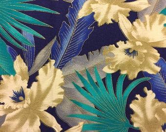 Tropical Fabric Aqua Blue White Flowers Cotton Last Piece 1 Yard 33 Inches Long.