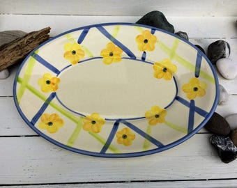 Hand Painted serving platter by A Santos Portugal