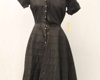 "1940's ""Mary Sachs"" Black Fit and Flair Dress with Diamond Buttons"