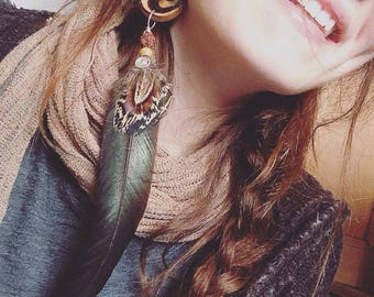 Handmade Gypsy feather earring power of Rooster pheasant and Peacock spiral tribal fusion