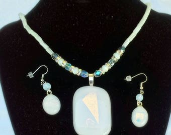 Gorgeous dichroic white and gold fused glass pendant and earrings, abalone and swarski beads make it stunning.  Original unique handmade