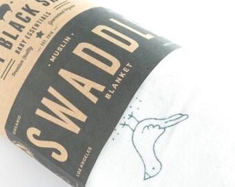 SALE! Muslin Swaddle Blanket in a Bird Design, Organic Cotton Muslin!