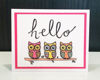 Blank Notecard w/ Envelope: Hello Owls