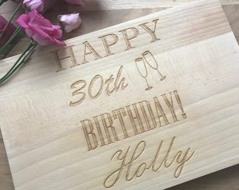 Birthday Personalised Wooden Chopping Board | 30th, 40th 50th 60th Presents