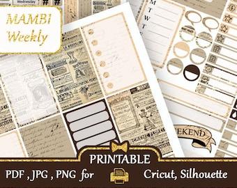 MAMBI Happy Planner Printable 2018 Vintage Newspaper Stickers Happy Planner Weekly kits MAMBI Planner Stickers Vertical Sticker, Silhouette