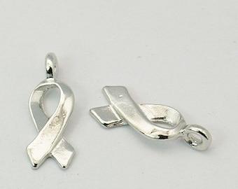 16 18x6mm Tibetan Style Charms, Awareness Ribbons - Nickel, Lead and Cadmium Free - - SKU 54649 x 2