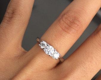 STUNNING 14k White gold Engagement Ring, Natural Diamonds, 3 Stone Round Cut Diamond Ring, .90 ct. Diamond Engagement Ring