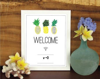 Wifi Printable, Wifi Sign, Guest Room Decor, Welcome Sign, Wifi, Pineapple Print, Password Printable, Internet Password