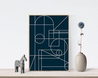 Geometric art, geometric print, geometric wall art, navy blue art print, geometric printable, geometric printable art, printable poster