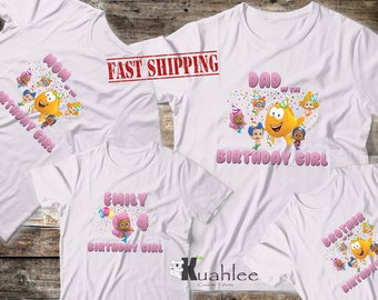Bubble Guppies Girl Party, Bubble Guppies shirt, Bubble Guppies, Custom, Family Shirts, Bubble Guppies Birthday, WHITE for Girl