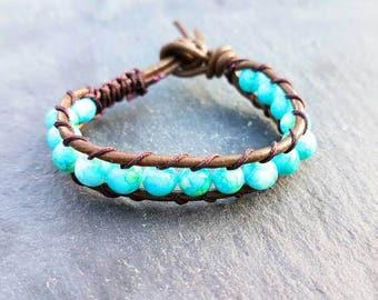 Kids turquoise genuine leather wrap bracelet